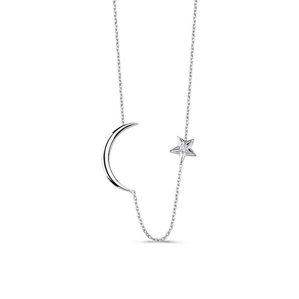 0.05 ct. Pırlanta Ay Yıldız Kolye